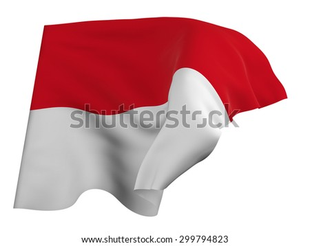 Flag of Indonesia,isolated, waving in the wind