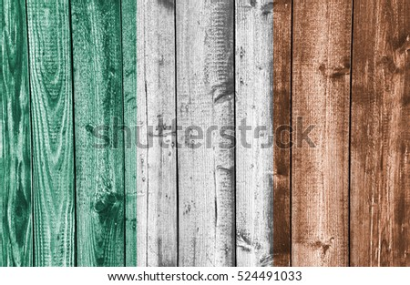 Flag of Ireland on weathered wood