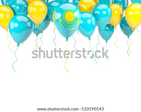 Flag of kazakhstan, with balloons frame isolated on white. 3D illustration