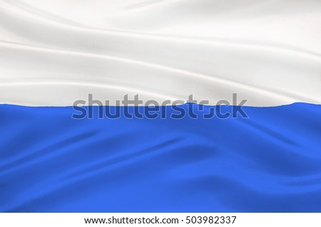 Flag of Krakow also Cracow of the oldest cities in Poland. 3d illustration