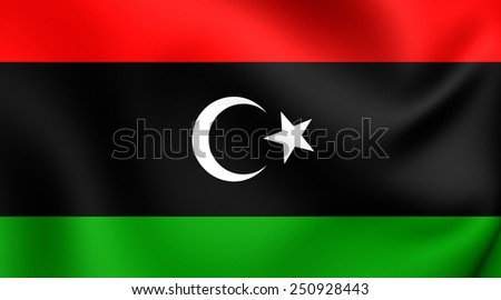 Flag of Libya. Close Up.