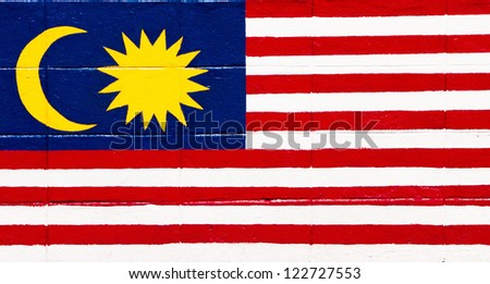 Flag of Malaysia painted on a brick wall