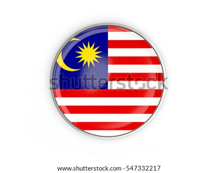 Flag of malaysia, round icon with metal frame isolated on white. 3D illustration