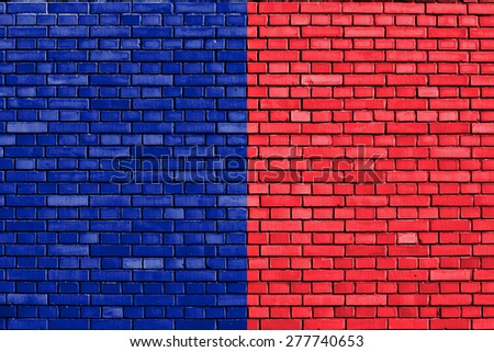 flag of Paris painted on brick wall