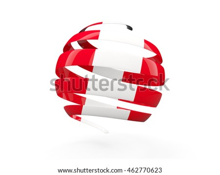 Flag of peru, round icon isolated on white. 3D illustration