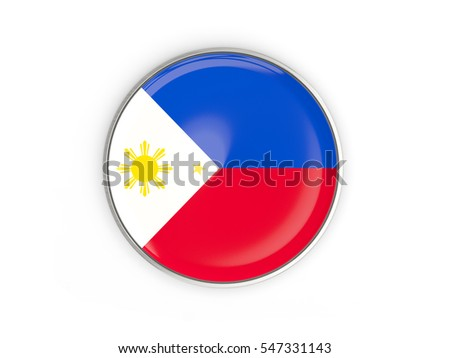 Flag of philippines, round icon with metal frame isolated on white. 3D illustration