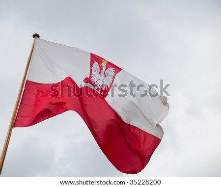 Flag of Poland in the wind