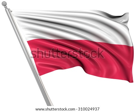 Flag of Poland , This is a computer generated and 3d rendered image.