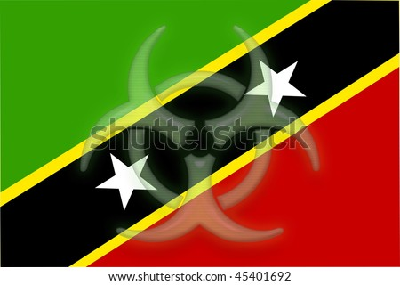 Flag of Saint Kitts and Nevis St., national country symbol illustration health warning alert