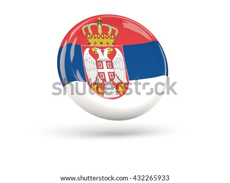 Flag of serbia, round icon. 3D illustration