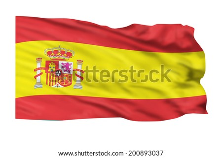 Flag of Spain flying high in the sky.
