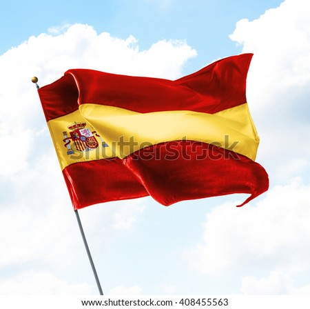Flag of Spain Raised Up in The Sky