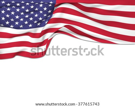 Flag of the United States , waving on white background