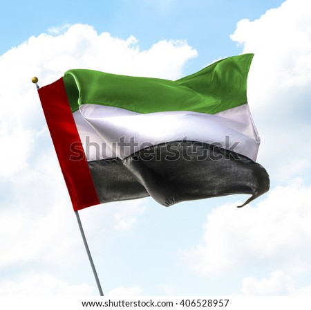 Flag of United Arab Emirates Raised Up in The Sky