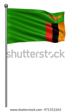 Flag of Zambia with flagpole waving in the wind against white background,3d illustration