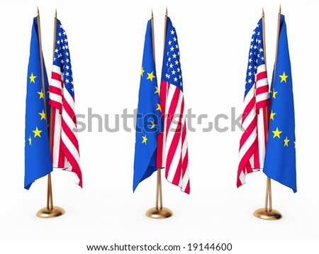 flags of EU and the United State isolated white