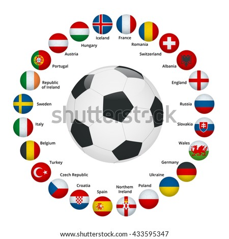 Flags of European countries participating to the final tournament of  football championship
