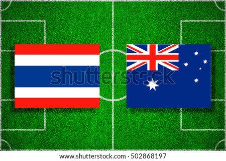 Flags of Thailand - Australia on the football field. 2018 football qualifiers