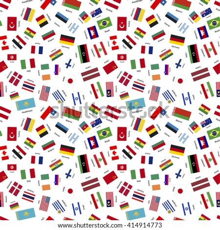 Flags of world sovereign states on white seamless pattern