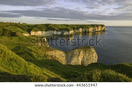 Flamborough, Yorkshire, UK. Chalk cliffs and North Sea at dawn on a fine summer morning near Flamborough Head, Yorkshire, UK.