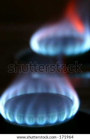 Flame from a gas stove top