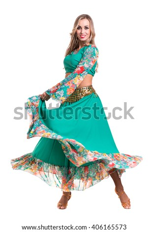 Flamenco dancer  woman posing, isolated on white background in full length