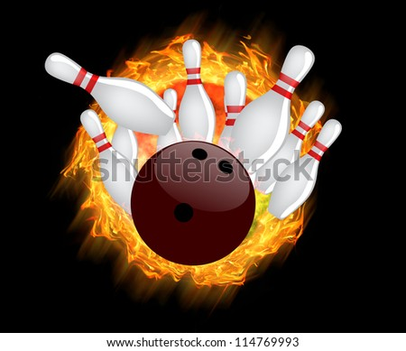 Red Bowling Ball Flames On Dark Stock Vector 310733498