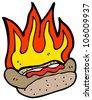 flaming hot dog cartoon - stock vector