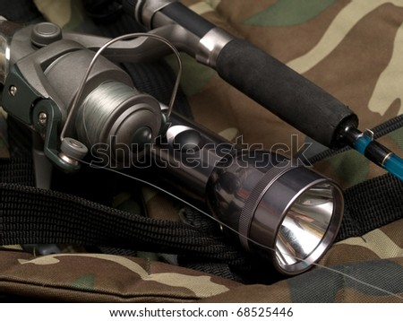 flashlight and spinning on a backpack khaki