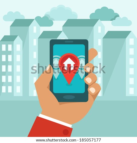 Flat concept - hand holding mobile phone with gps app on the screen - searching for a house - raster illustration