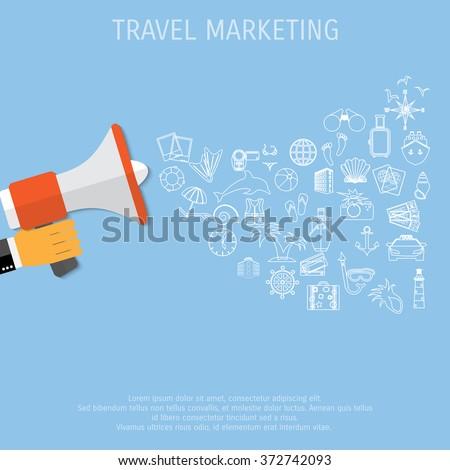 Digital marketing flat illustration hand speaker stock for Digital marketing materials