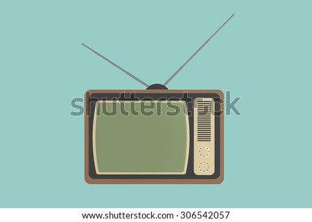 Flat Conceptual Illustration of Classic vintage TV on a green background
