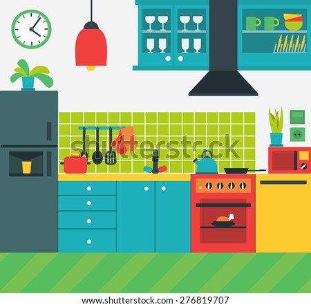 Cartoon kitchen stock vector 184160033 shutterstock for Colorful concepts interior design