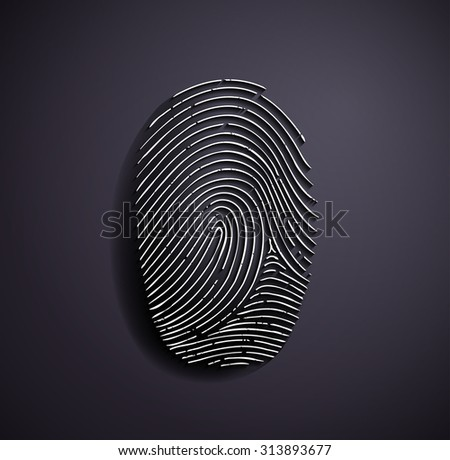 Flat metallic logo fingerprint. Stock image.