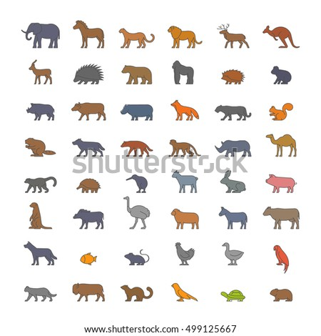 Flat set of silhouettes of farm and wild animals. Linear flat icon kangaroos, hedgehog, ferret, dromedary, beaver, warthog and others.