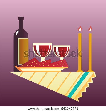 Flat style table for two with cloth, glasses, bottle of wine and two burning candles.  illustration .