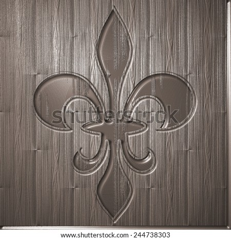 Fleur de lis relief on wooden background - engraving style