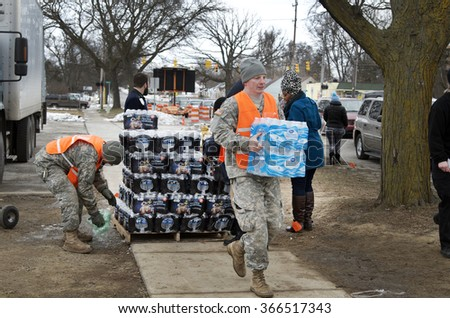 FLINT, MICHIGAN January 23, 2016: Bottled Water Distribution By National Guard At Fire Station 6, In Downtown Flint, January 23, 2016, Downtown Flint, Michigan