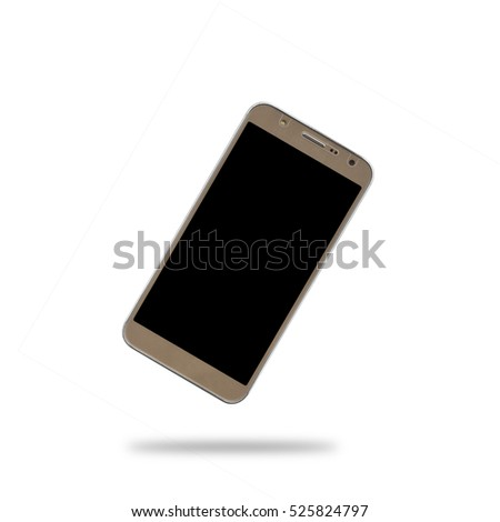 float gold smart phone with black display and shadow isolated on white included clipping path for smart phone display and body