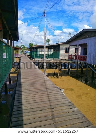 floating wooden bridge at  water houses in Sabah.