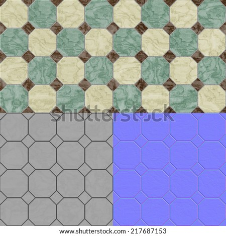 Cobble stones seamless generated texture with stock for Floor normal map