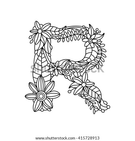 Coloring Book Adults Floral Doodle Letter Stockvektor