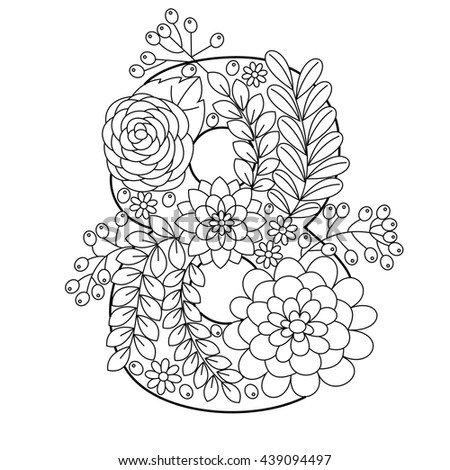 Floral Alphabet Number Coloring Book For Adults Raster Illustration