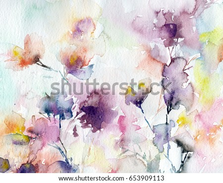 Invitation floral decor bouquet beautiful flowers stock for Watercolor painting templates free