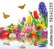 floral background with butterfly - stock photo