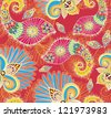 Floral bright seamless pattern with doodle flowers and paisley, illustration - stock vector