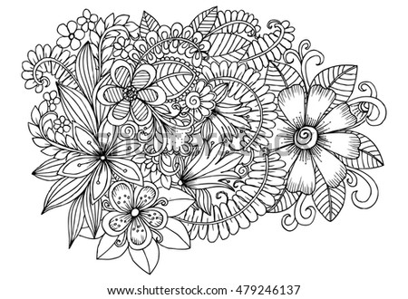 floral doodle pattern in black and white for coloring handdrawn flower carpet in fantasy garden - Coloring Book Flowers