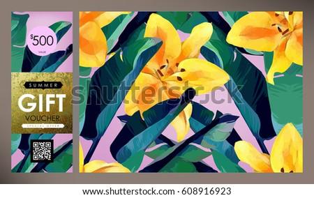 Floral Flyer Discount Voucher Gift Certificate Stock Vector ...
