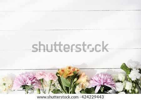 Floral. Flowers on the wooden table