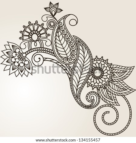 floral pattern hand drawing illustration RASTER
